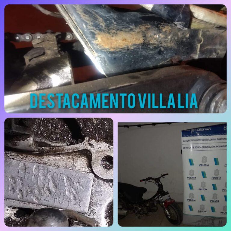 Villa Lía: se secuestró una moto adulterada con dos menores de 17 años