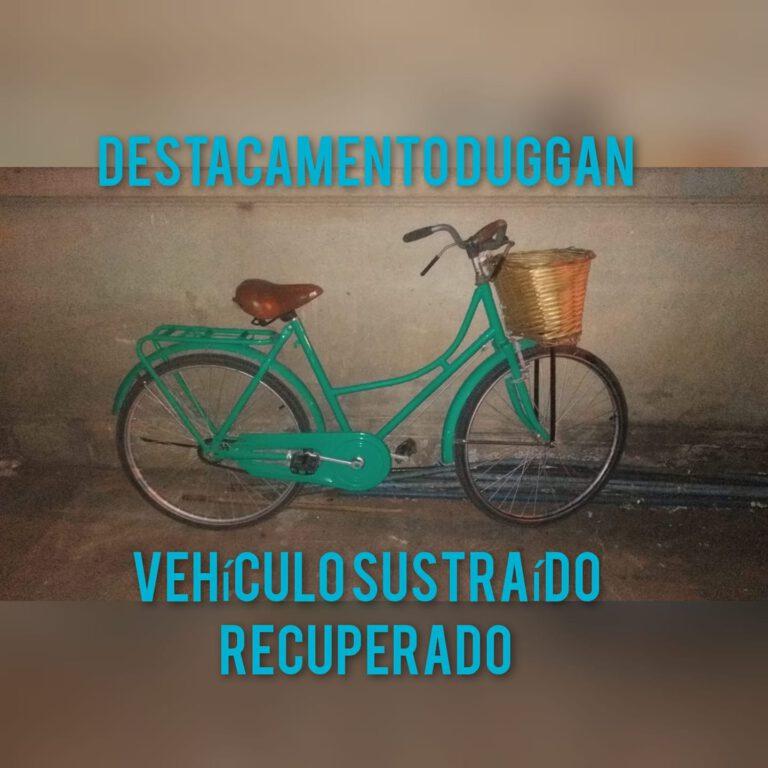 La bicicleta robada en Capitán Sarmiento fue recuperada en Duggan: hay una persona detenida
